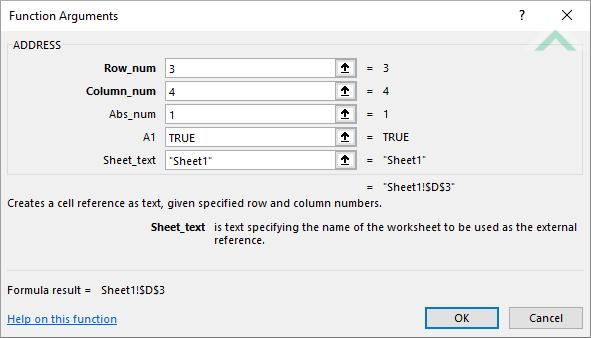 Excel ADDRESS Function | Excel, VBA