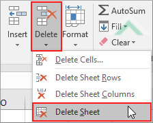 how to delete sheet in excel 2016