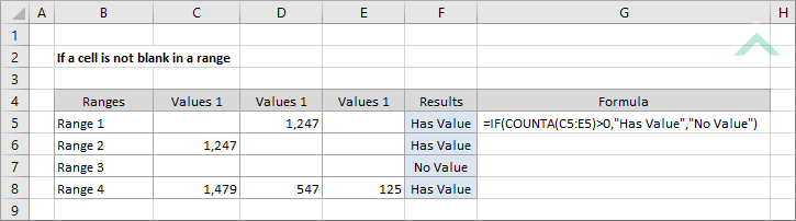 If a cell is not blank in a range using Excel and VBA | Exceldome