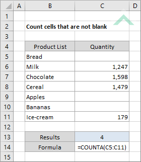 Count cells that are not blank using Excel and VBA | Exceldome