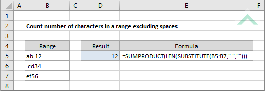 Count number of characters in a range excluding spaces using ...