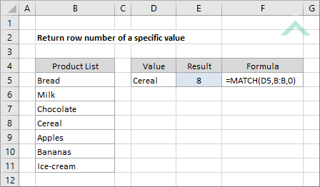 Return row number of a specific value | Excel, VBA