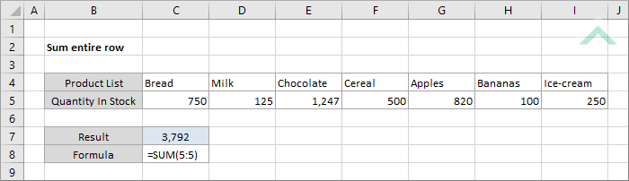Sum entire row | Excel, VBA