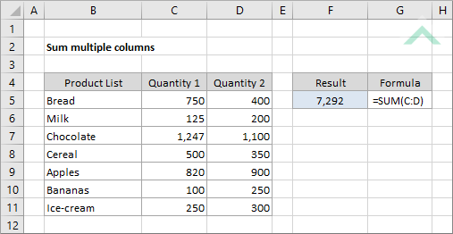Sum multiple columns | Excel, VBA