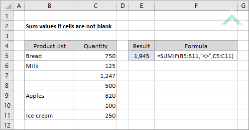 Sum values if cells are not blank | Excel, VBA