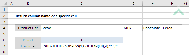 Return column name of a specific cell | Excel, VBA