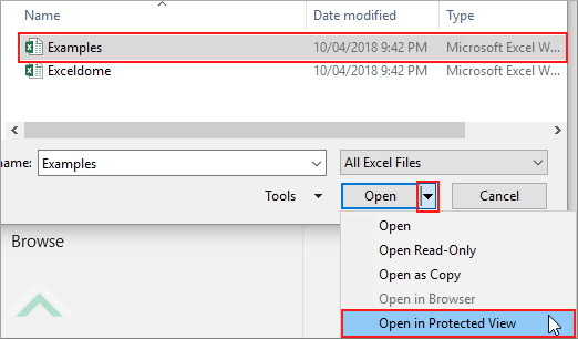Open an excel workbook in protected view using excel and vba exceldome select workbook and click open in protected view ibookread ePUb