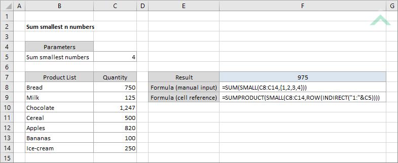 Sum smallest n numbers | Excel, VBA