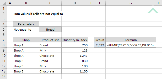 Sum values if cells are not equal to | Excel, VBA