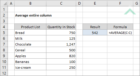 Average entire column | Excel, VBA