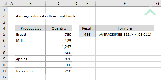 Average values if cells are not blank | Excel, VBA