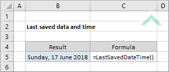Excel function last saved date and time