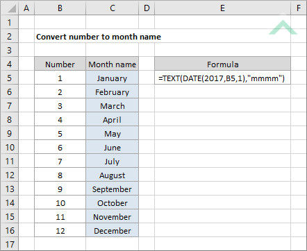 Convert Number To Month Name Excel Vba