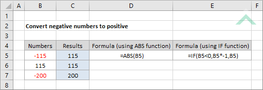 Convert negative numbers to positive using Excel and VBA | Exceldome
