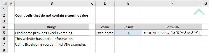 Count cells that do not contain a specific value using Excel ...