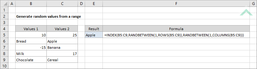Generate random values from a range using Excel and VBA