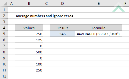 Average numbers and ignore zeros using Excel and VBA | Exceldome