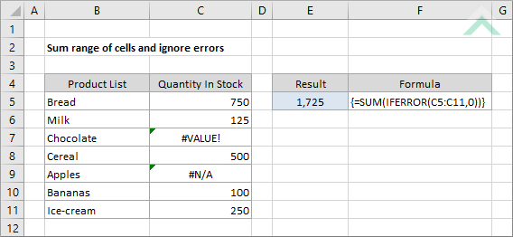 Sum-range-of-cells-and-ignore-errors Vba For Each Worksheet In Array on xsl for each, sql for each, javascript for each, msdn for each, jquery for each,
