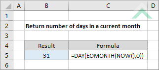 Return number of days in a current month - Excel and VBA ...