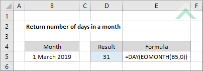 Return number of days in a month - Excel and VBA | Exceldome
